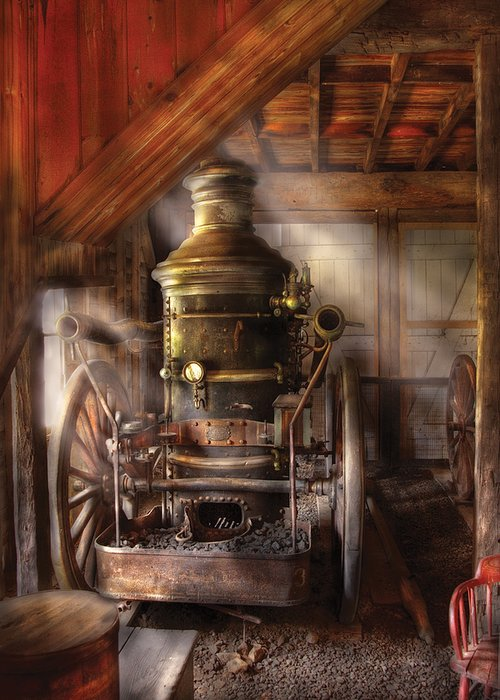Savad Greeting Card featuring the photograph Fireman - Steam Powered Water Pump by Mike Savad