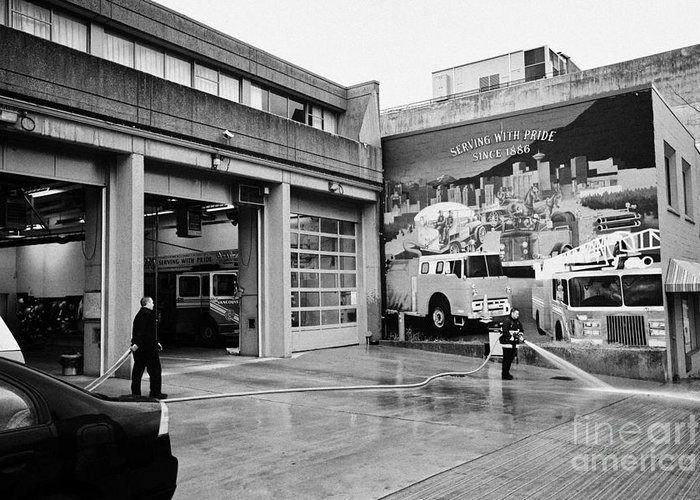 Vancouver Greeting Card featuring the photograph firemen hosing down Vancouver fire rescue services hall 2 in downtown eastside BC Canada by Joe Fox