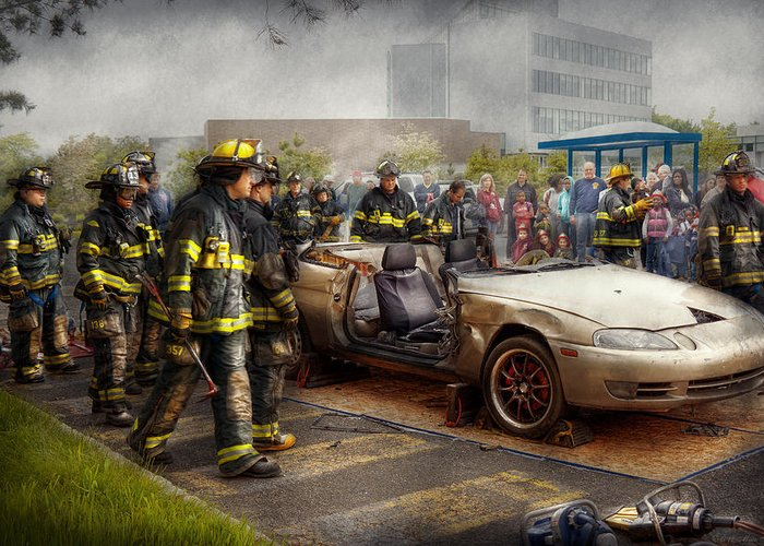 Fireman Greeting Card featuring the photograph Firemen - The Fire Demonstration by Mike Savad