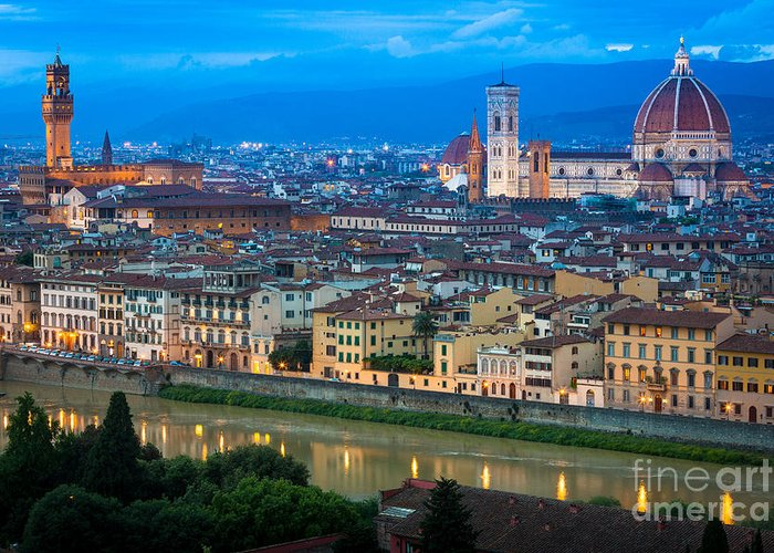 Arno Greeting Card featuring the photograph Firenze By Night by Inge Johnsson