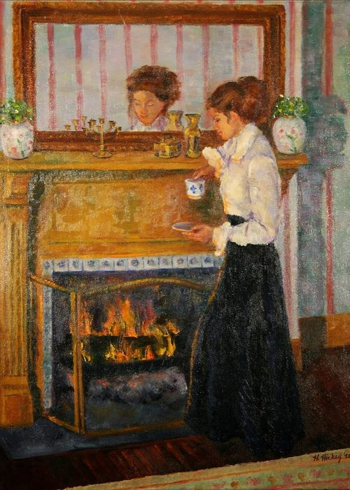 Greeting Card featuring the painting Fireside by Helen Hickey