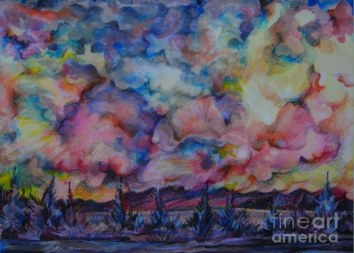 Colors Greeting Card featuring the drawing Firework Of Chinook by Anna Duyunova