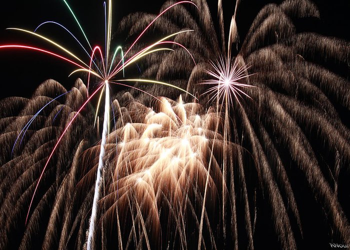 Fireworks Greeting Card featuring the photograph Fireworks 3 by Andrew Nourse