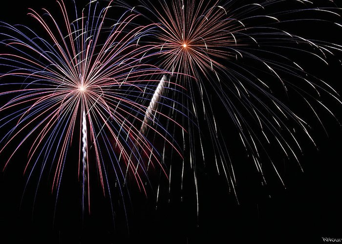 Fireworks Greeting Card featuring the photograph Fireworks 4 by Andrew Nourse