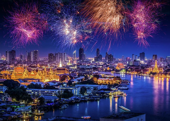 Mother's Day Greeting Card featuring the photograph Fireworks Above Bangkok City by Natapong Supalertsophon