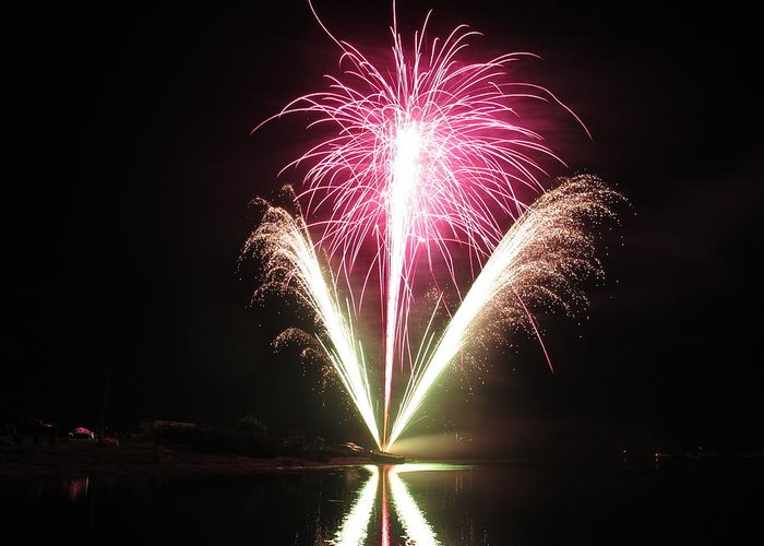 Garrison Cove Greeting Card featuring the photograph Fireworks At Cooks by Donnie Freeman