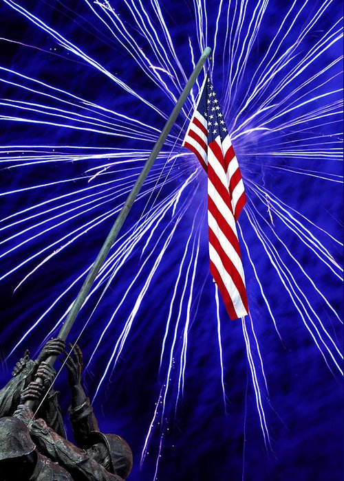 Fireworks Greeting Card featuring the photograph Fireworks At Iwo Jima Memorial by Francesa Miller