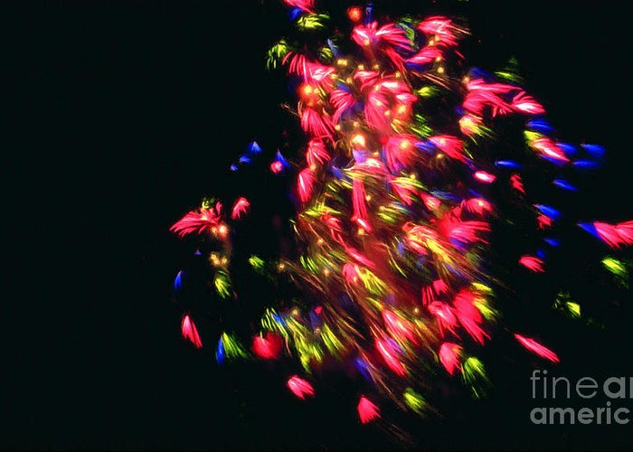 Fireworks At Night Greeting Card featuring the painting Fireworks At Night 4 by Lanjee Chee