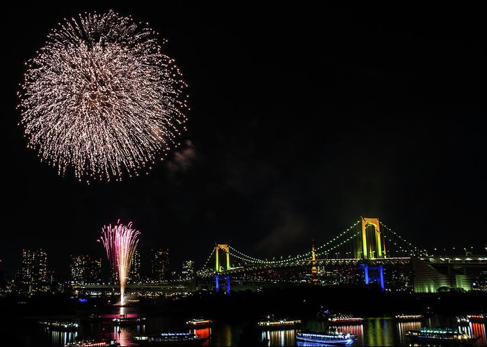Firework Display Greeting Card featuring the photograph Fireworks At Rainbow Bridge by ©alan Nee