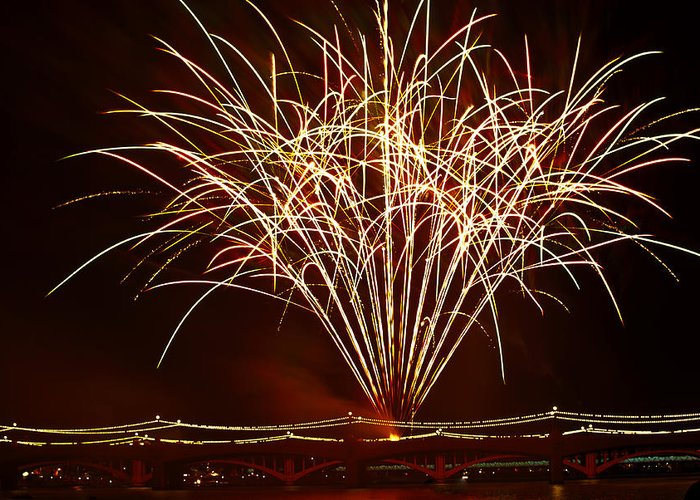 July 4th Greeting Card featuring the photograph Fireworks At Tempe Town Lake by Saija Lehtonen