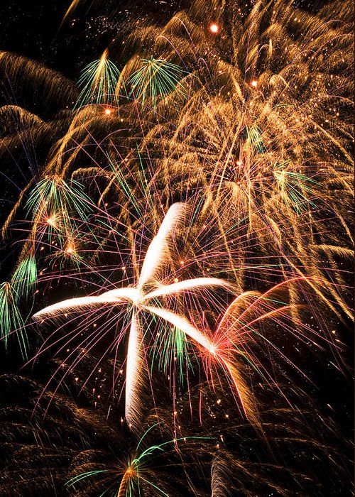 Fireworks Lights Up The Darkness Greeting Card featuring the photograph Fireworks Exploding Everywhere by Garry Gay