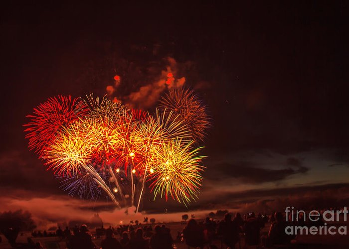 Emmett Greeting Card featuring the photograph Fireworks Finale by Robert Bales