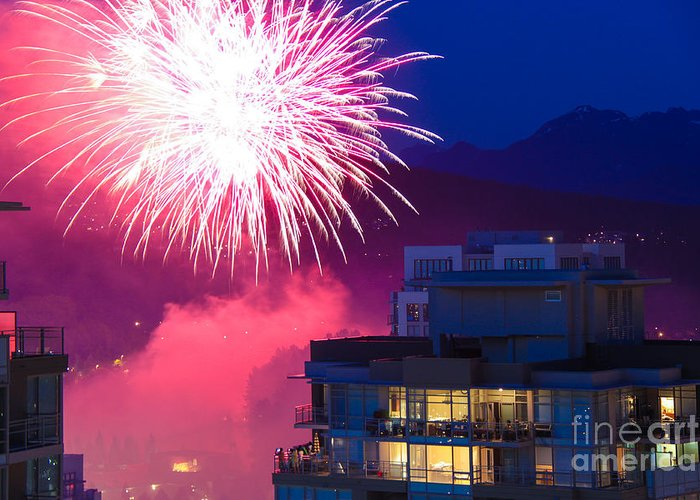 Fireworks Greeting Card featuring the photograph Fireworks In The City by Nancy Harrison
