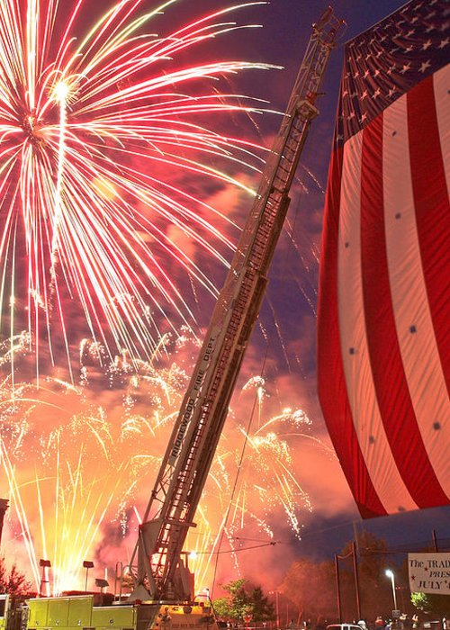 4th Greeting Card featuring the photograph Fireworks by Jim DeLillo