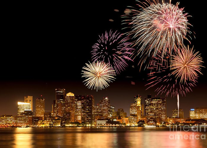 4th Of July Greeting Card featuring the photograph Fireworks Over Boston Harbor by Susan Cole Kelly