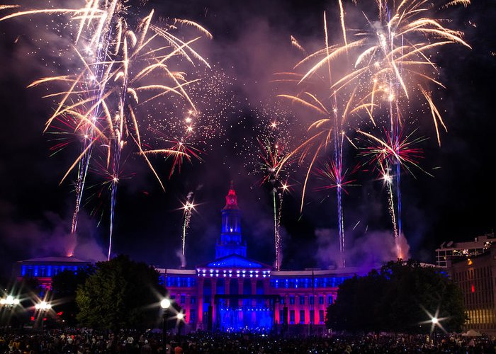 4th Greeting Card featuring the photograph Fireworks Over Denver City And County Building by Teri Virbickis