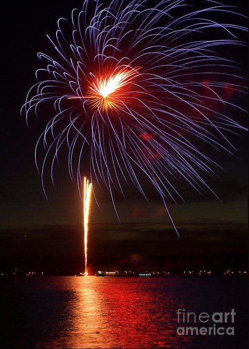 July 4th Greeting Card featuring the photograph Fireworks Over Lake by Raymond Earley