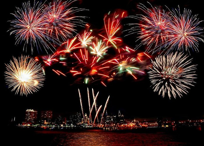 4th Greeting Card featuring the photograph Fireworks Over The Delaware by Nick Zelinsky