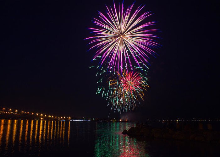 4th Greeting Card featuring the photograph Fireworks Over The York River by James Drake