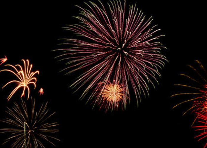 Fireworks Greeting Card featuring the photograph Fireworks Panorama by Bill Cannon