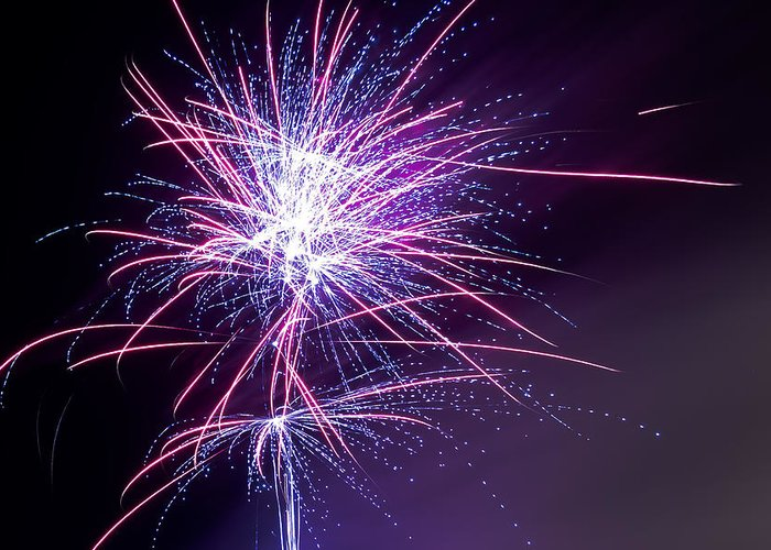 Party Greeting Card featuring the photograph Fireworks - Purple Haze by Scott Lyons