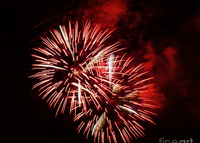 California Greeting Card featuring the photograph Fireworks Red-white by Katja Zuske