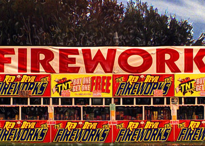 Fireworks Greeting Card featuring the photograph Fireworks by Ron Regalado