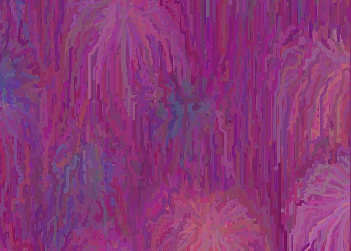 Abstract Greeting Card featuring the painting Fireworks by Roy Cooper