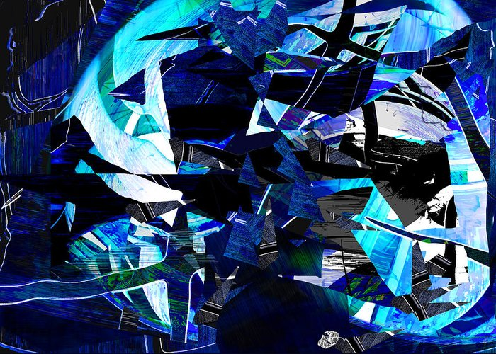 Globe Greeting Card featuring the digital art Firmament Cracked #9 - All Which Once Was Beautiful by Mathilde Vhargon