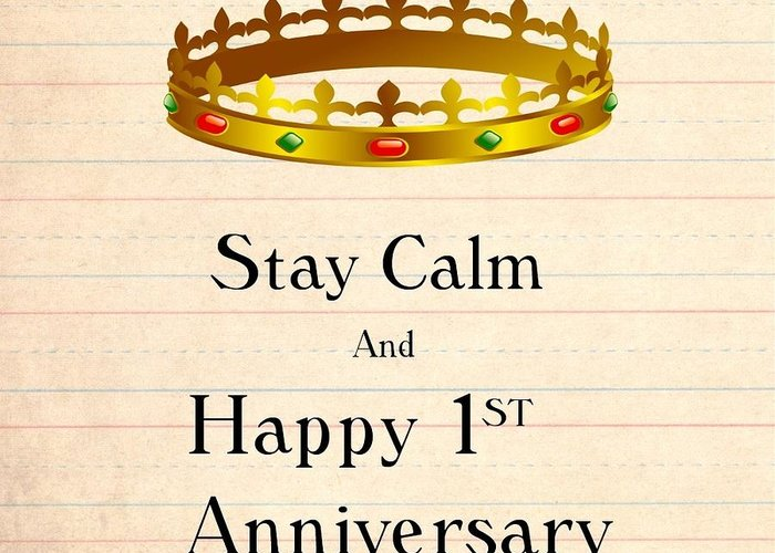 Anniversary Greeting Card featuring the digital art First Anniversary by Florene Welebny