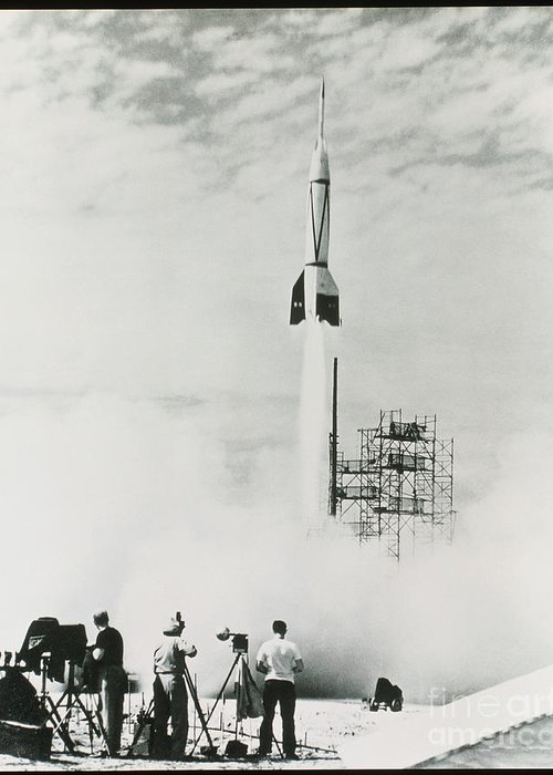 V2 Rocket Greeting Card featuring the photograph First Cape Canaveral Rocket Launch by NASA Science Source