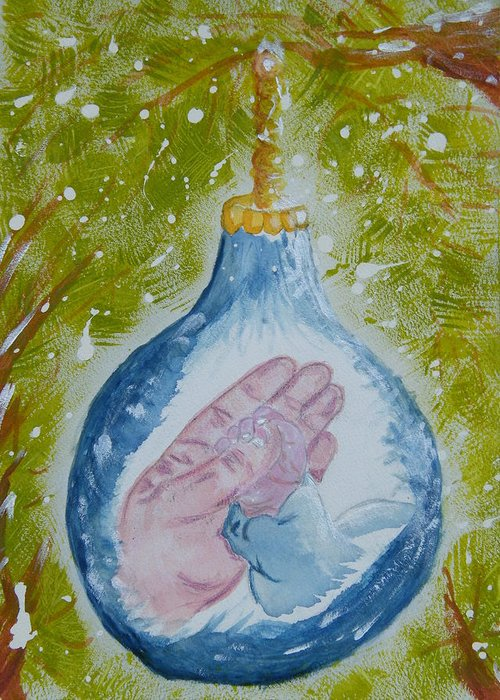 Christmas Greeting Card featuring the painting First Christmas II by Margaret G Calenda