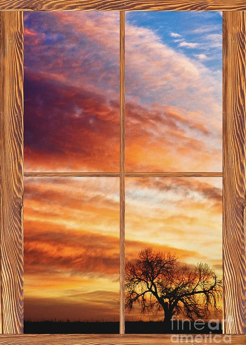 Sunrise Greeting Card featuring the photograph First Dawn Barn Wood Picture Window Frame View by James BO Insogna