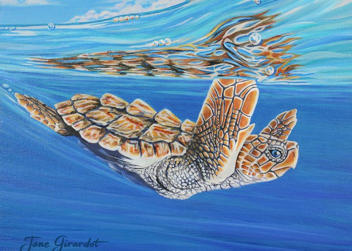 Ocean Greeting Card featuring the painting First Dive by Jane Girardot