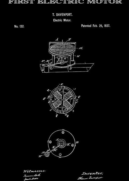 Edison Greeting Card featuring the digital art First Electric Motor 2 Patent Art 1837 by Daniel Hagerman