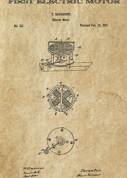Edison Greeting Card featuring the digital art First Electric Motor 3 Patent Art 1837 by Daniel Hagerman
