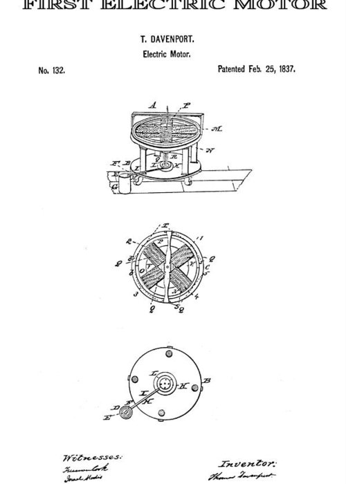 Edison Greeting Card featuring the digital art First Electric Motor Patent Art 1837 by Daniel Hagerman