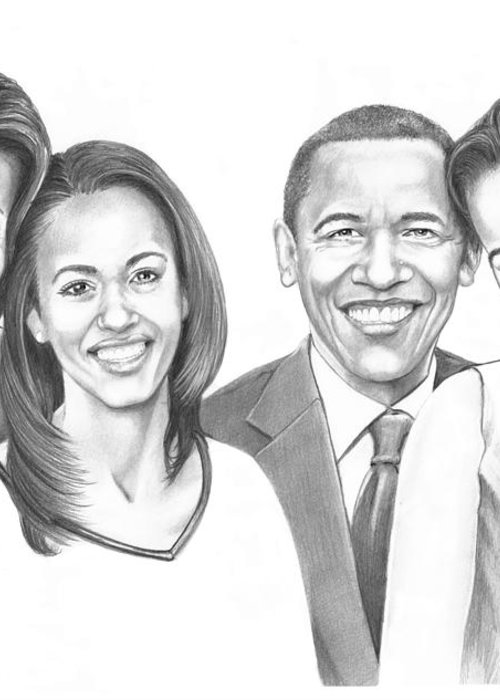 Barrack Greeting Card featuring the drawing First-family 2013 by Murphy Elliott