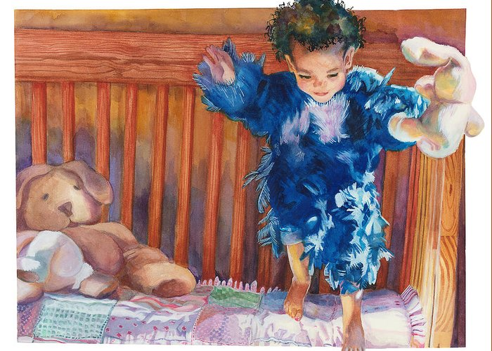 Baby Greeting Card featuring the painting First Flight by Maureen Dean