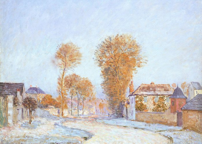 Winter Greeting Card featuring the painting First Frost by Alfred Sisley