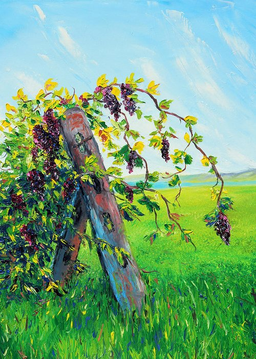 Grapes Greeting Card featuring the painting First Fruits by Meaghan Troup