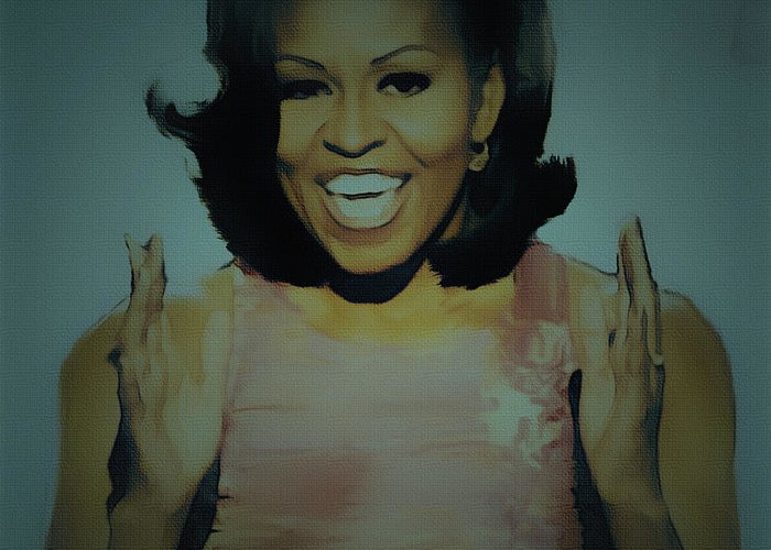 Michelle Obama Greeting Card featuring the painting First Lady by Brian Reaves