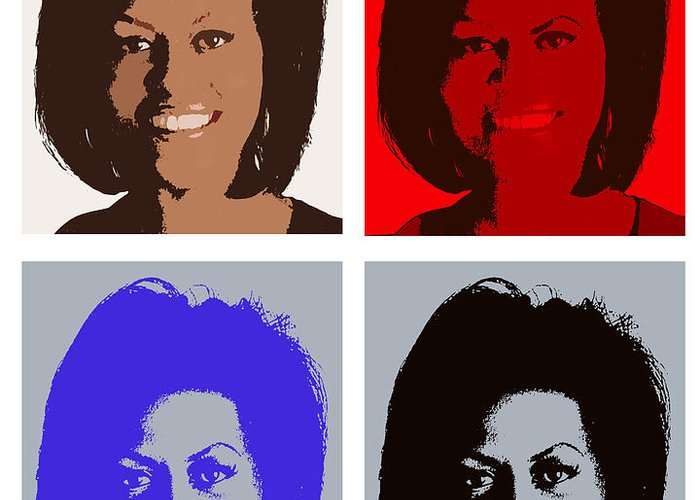 Michelle Obama Greeting Card featuring the photograph First Lady by Robert Suggs