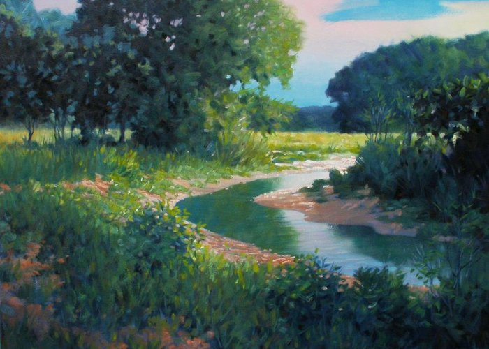 Landscape Greeting Card featuring the painting First Light by Kevin Lawrence Leveque
