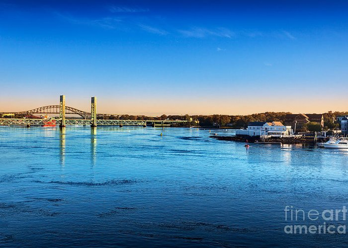 Piscataqua River Bridge Greeting Card featuring the photograph First Light Piscataqua River by Jo Ann Snover