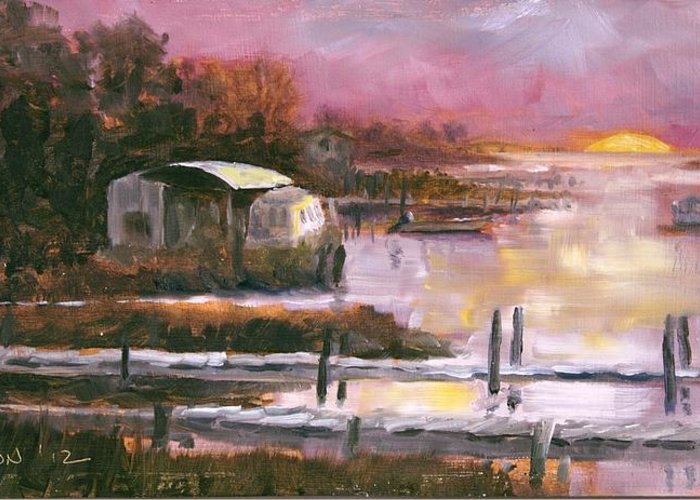 Sunrise Greeting Card featuring the painting First Light Two Mile Channel by Susan Richardson