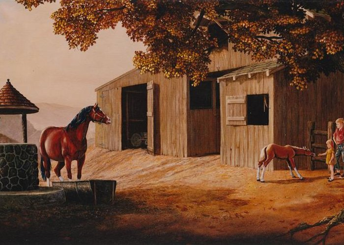 Farm Greeting Card featuring the painting First Meeting by Duane R Probus