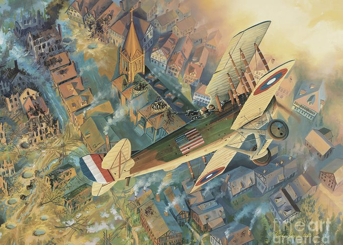Aviation Art Greeting Card featuring the painting First Over The Front by Randy Green