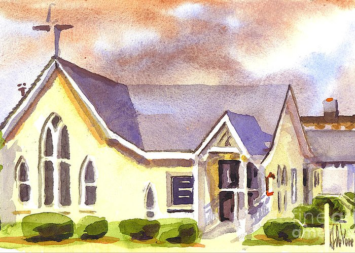 First Presbyterian Church Ironton Missouri Greeting Card featuring the painting First Presbyterian Church Ironton Missouri by Kip DeVore