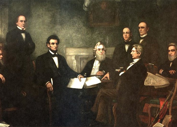 First Reading Of The Emancipation Proclamation Of President Lincoln Greeting Card featuring the digital art First Reading Of The Emancipation Proclamation Of President Lincoln by Georgia Fowler